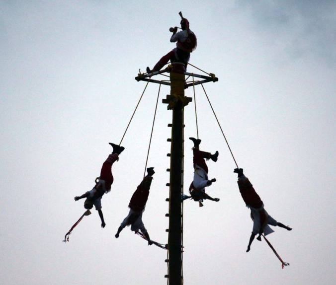 "The Palo Voladores, an ancient Mesoamerican ceremony. It's almost ""too"" Glastonbury."